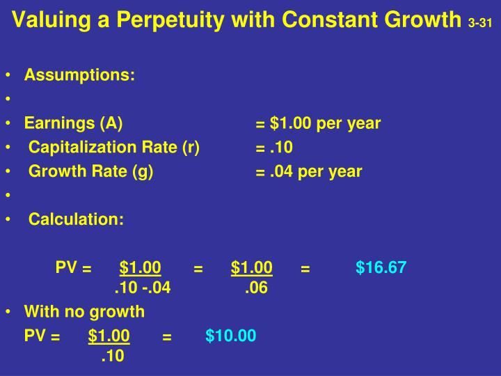 Valuing a Perpetuity with Constant Growth
