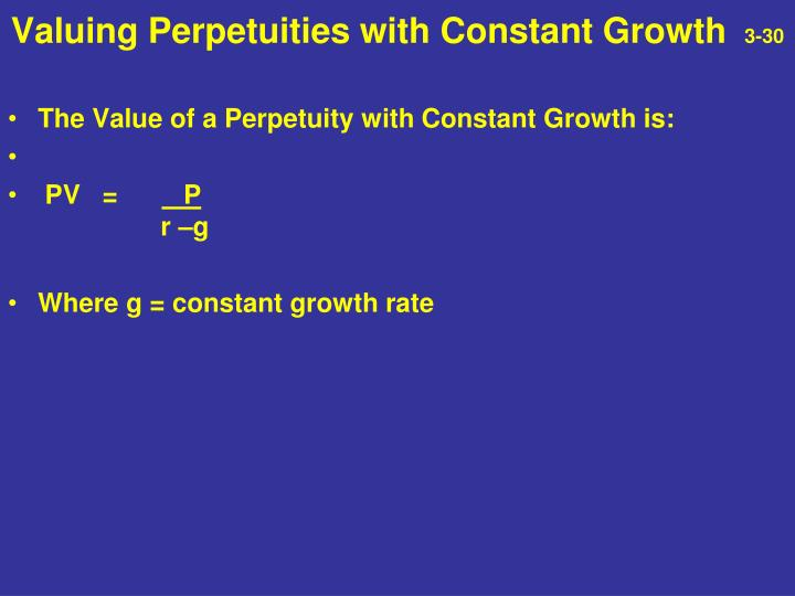 Valuing Perpetuities with Constant Growth