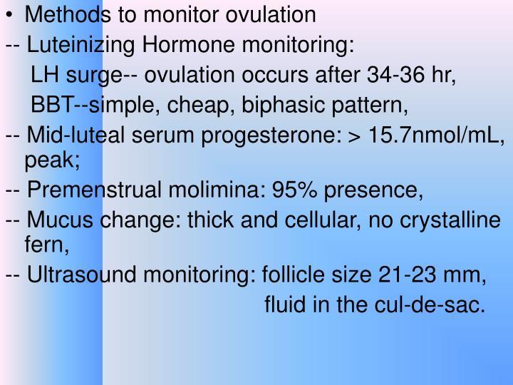 Methods to monitor ovulation