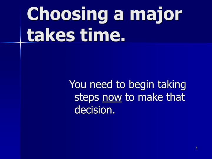 Choosing a major takes time.