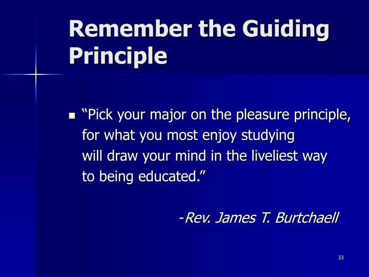 Remember the Guiding Principle