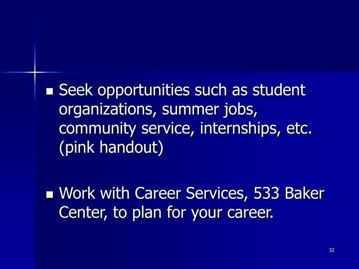 Seek opportunities such as student organizations, summer jobs, community service, internships, etc. (pink handout)