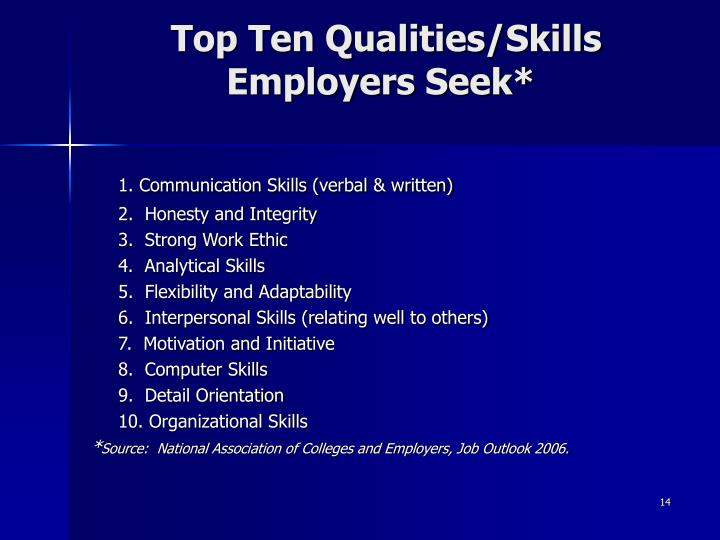 Top Ten Qualities/Skills Employers Seek*
