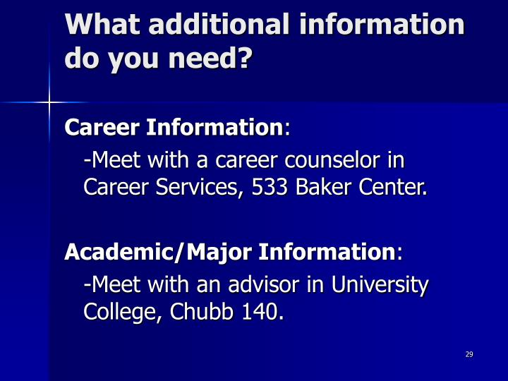 What additional information do you need?