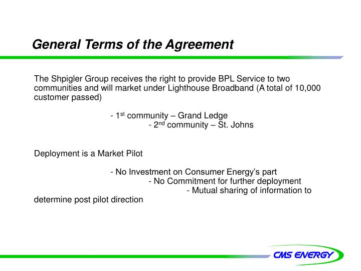 General Terms of the Agreement