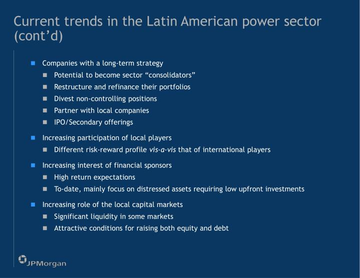Current trends in the Latin American power sector (cont'd)