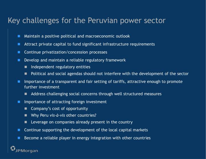 Key challenges for the Peruvian power sector