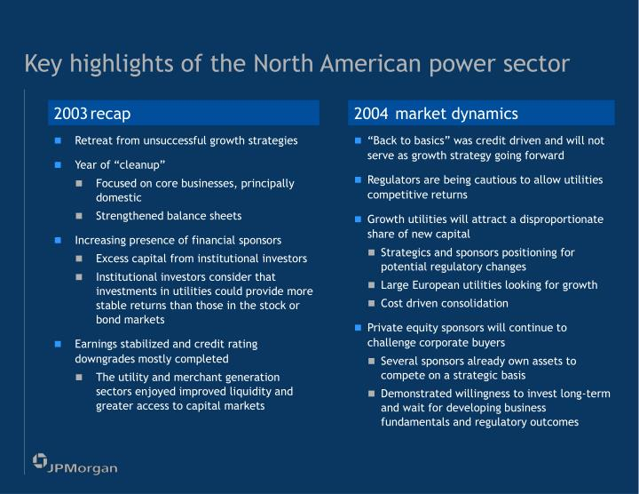 Key highlights of the north american power sector