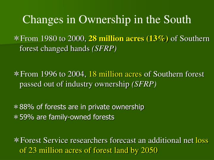 Changes in Ownership in the South