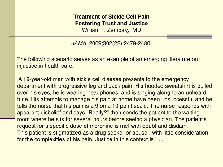 Treatment of Sickle Cell Pain