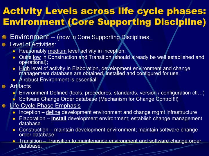 Activity Levels across life cycle phases:
