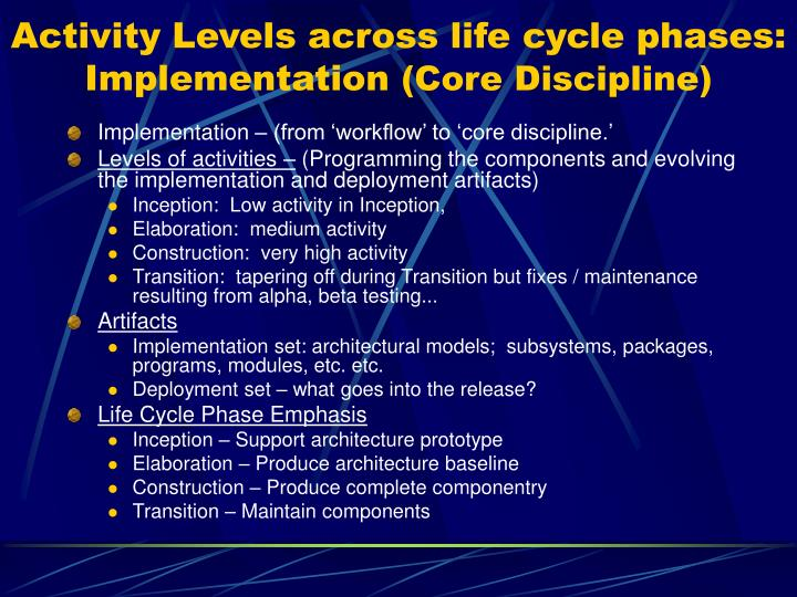 Activity Levels across life cycle phases: Implementation