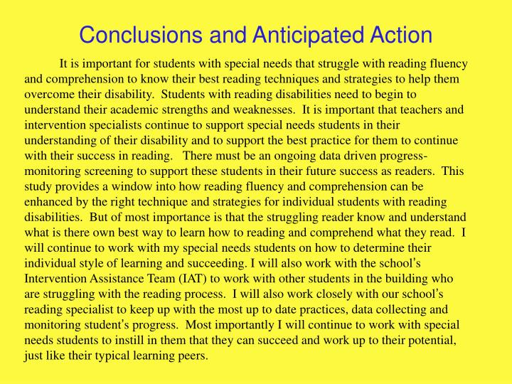 Conclusions and Anticipated Action