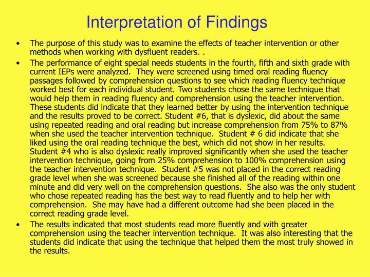 Interpretation of Findings