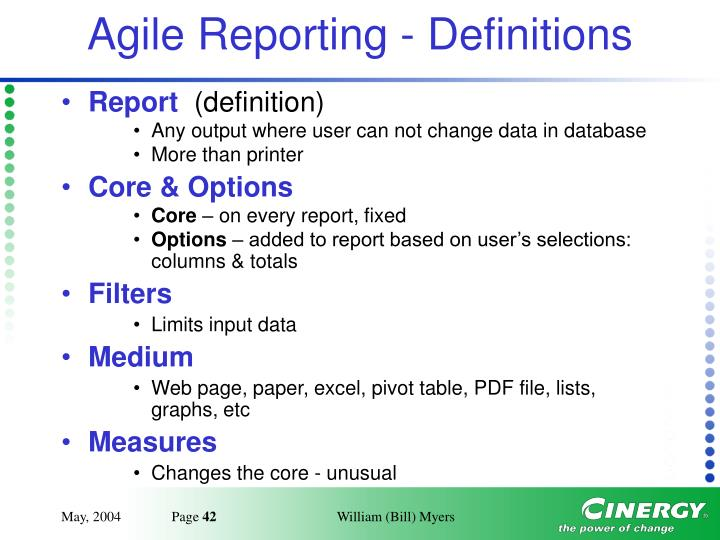 Agile Reporting - Definitions