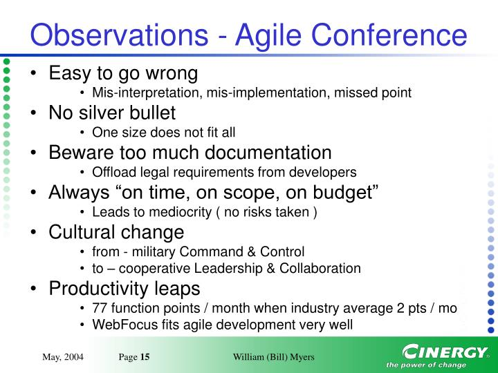 Observations - Agile Conference