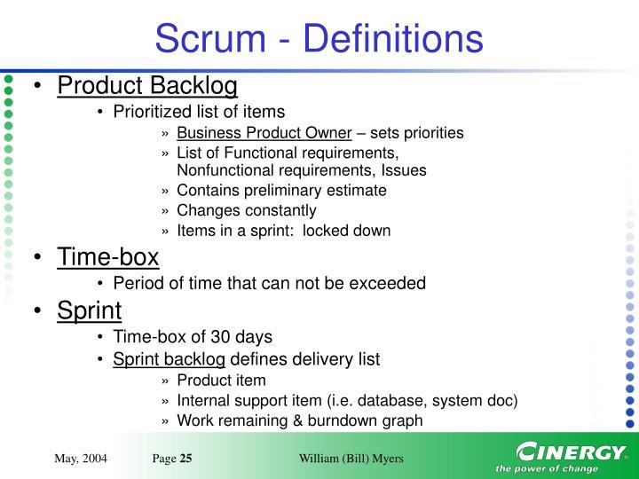Scrum - Definitions