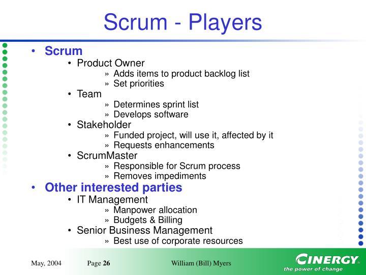 Scrum - Players