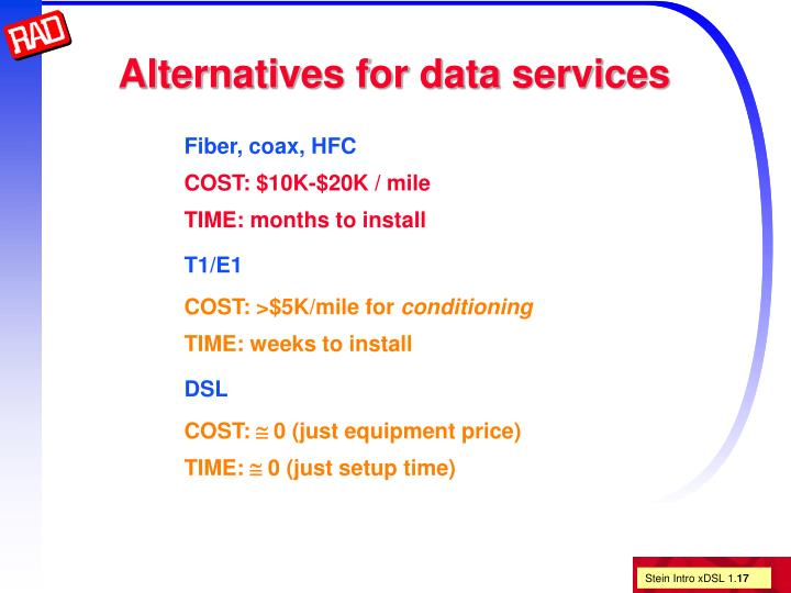 Alternatives for data services