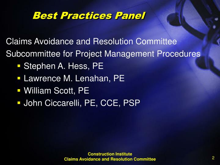 Best practices panel