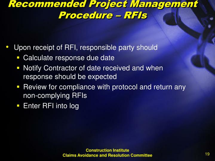 Recommended Project Management Procedure – RFIs