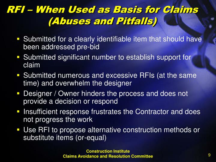 RFI – When Used as Basis for Claims