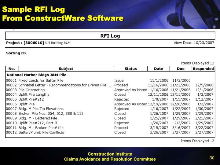 Sample RFI Log