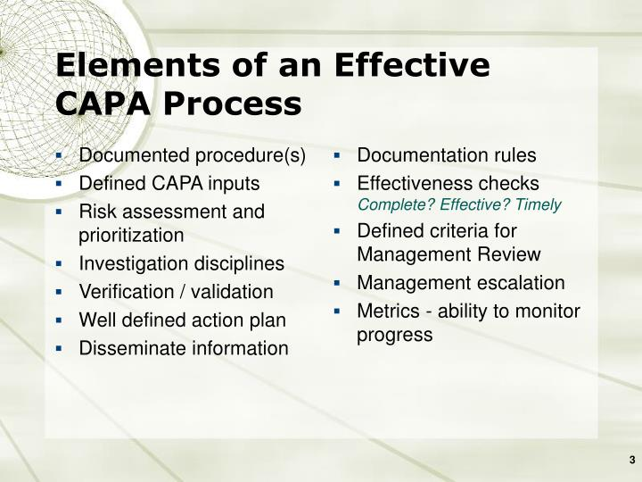 Elements of an effective capa process