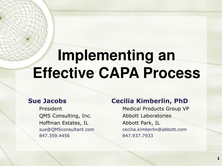 Implementing an effective capa process