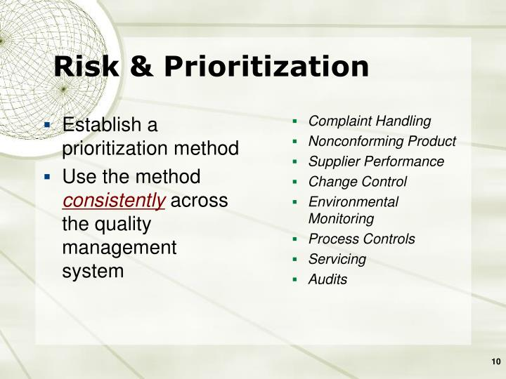 Establish a prioritization method