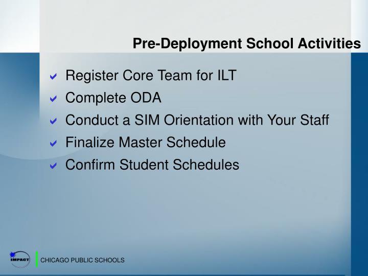Pre-Deployment School Activities