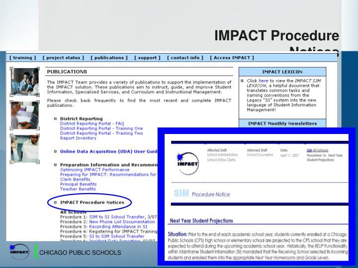 IMPACT Procedure Notices