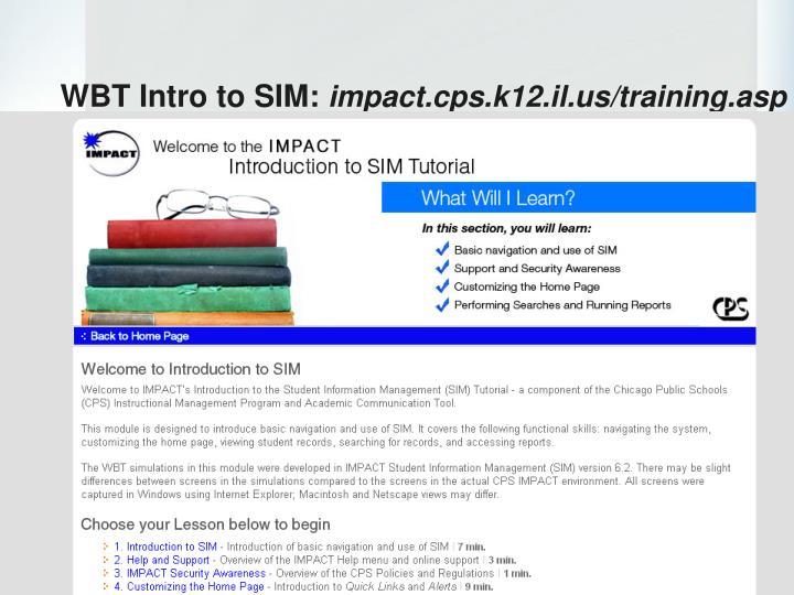 WBT Intro to SIM:
