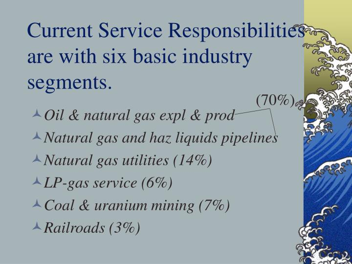 Current service responsibilities are with six basic industry segments