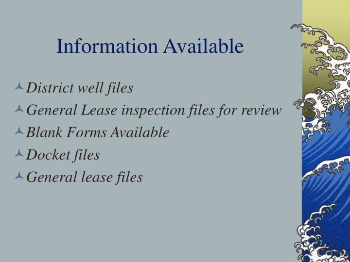 Information Available