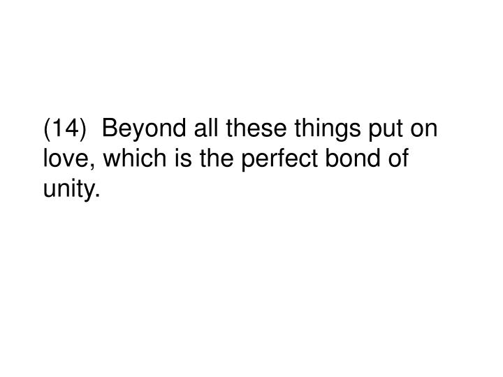 (14)  Beyond all these things put on love, which is the perfect bond of unity.
