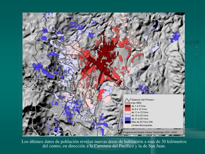 Los últimos datos de población revelan nuevas áreas de habitación a mas de 30 kilómetros del centro, en dirección a la Carretera del Pacífico y la de San Juan.