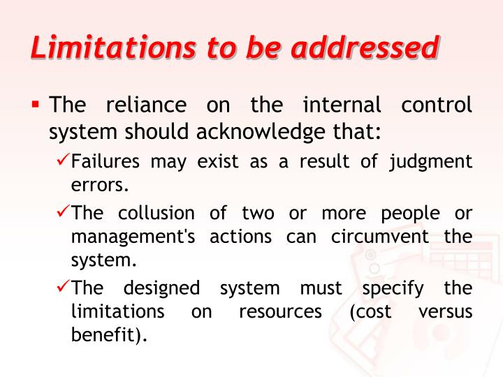 Limitations to be addressed