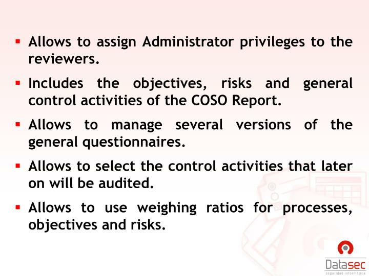 Allows to assign Administrator privileges to the reviewers.