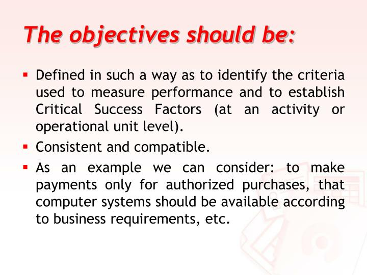 The objectives should be: