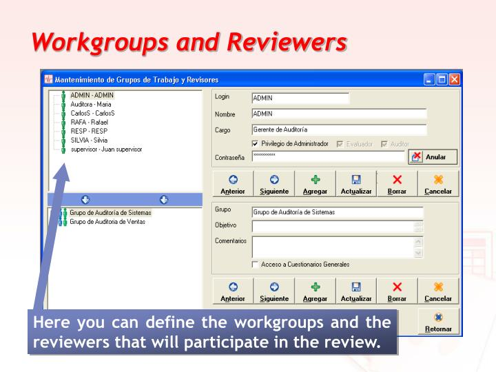 Workgroups and Reviewers
