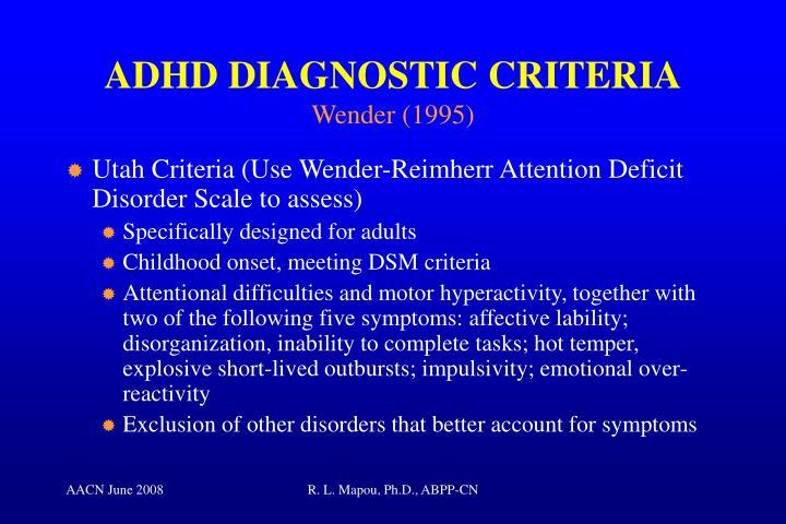ADHD DIAGNOSTIC CRITERIA