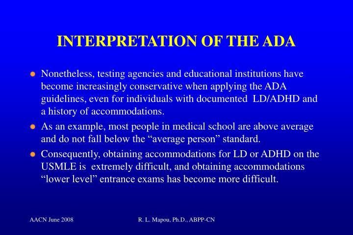 INTERPRETATION OF THE ADA