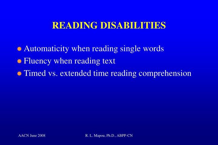 READING DISABILITIES