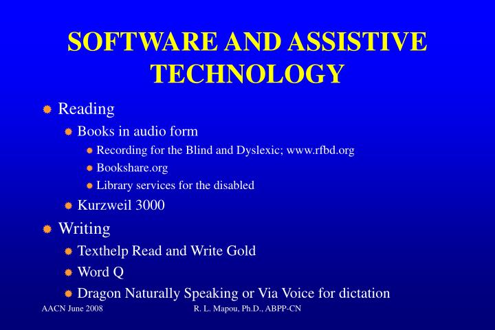 SOFTWARE AND ASSISTIVE TECHNOLOGY