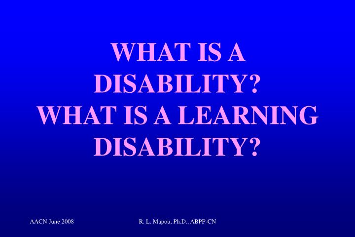 What is a disability what is a learning disability