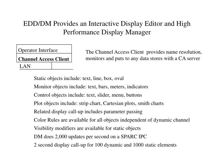 EDD/DM Provides an Interactive Display Editor and High Performance Display Manager