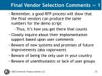 final vendor selection comments 1
