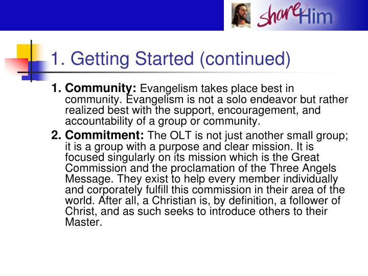 1. Getting Started (continued)
