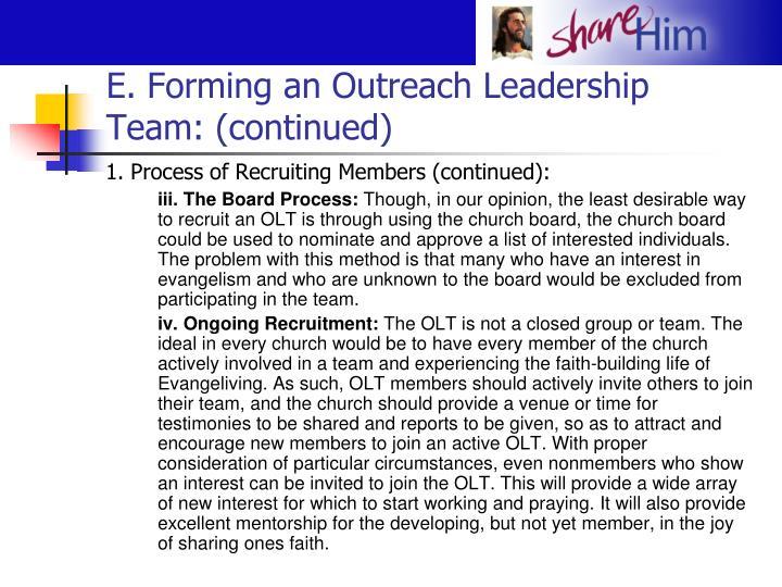 E. Forming an Outreach Leadership Team: (continued)